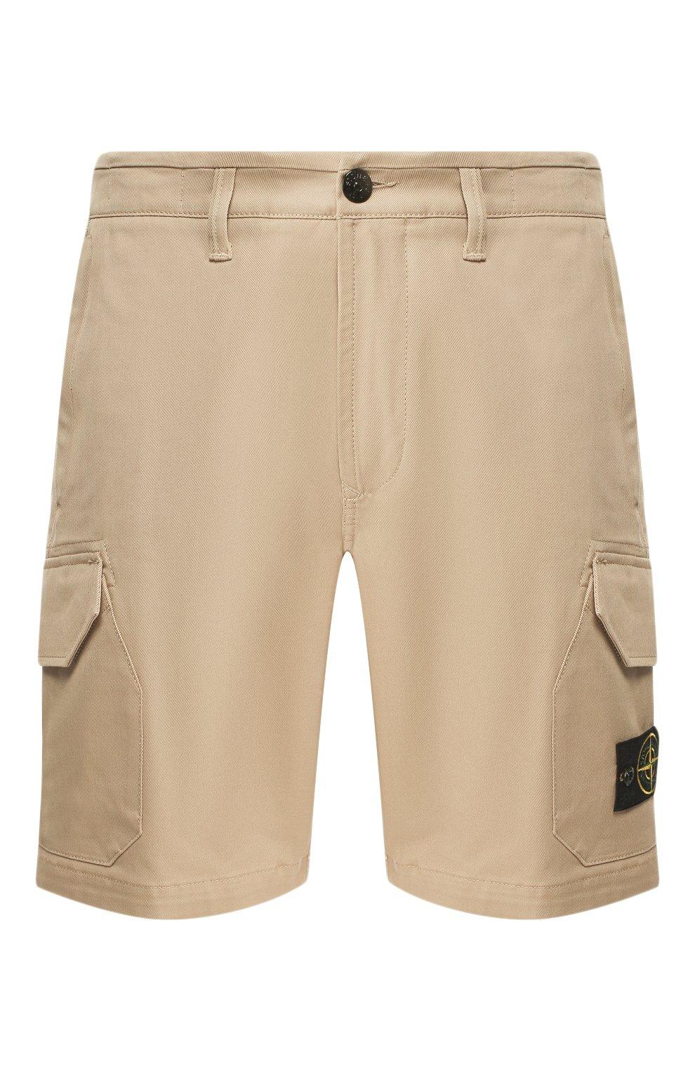 Мужские хлопковые шорты STONE ISLAND бежевого цвета, арт. 7215L0405 | Фото 1