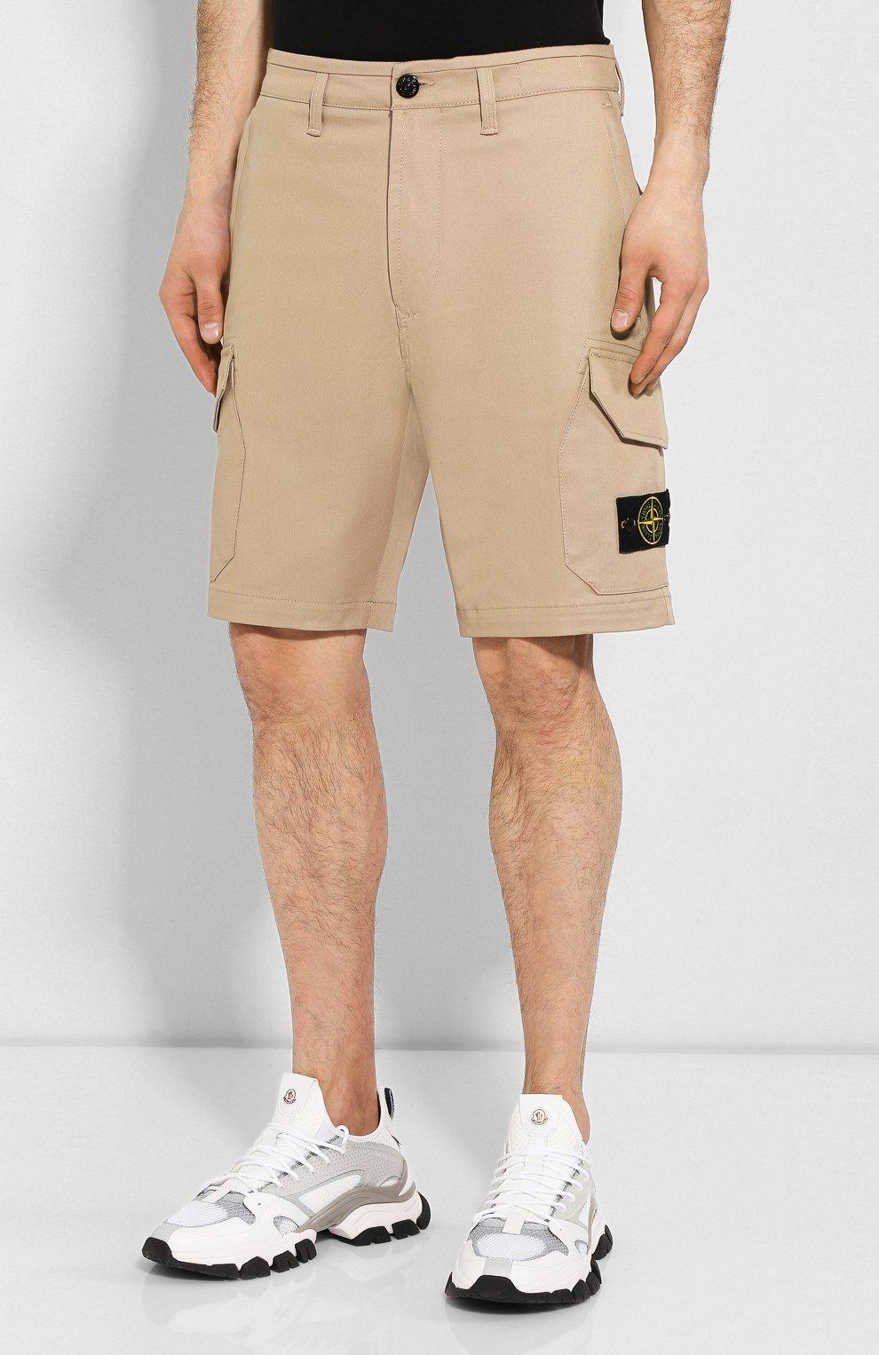 Мужские хлопковые шорты STONE ISLAND бежевого цвета, арт. 7215L0405 | Фото 3