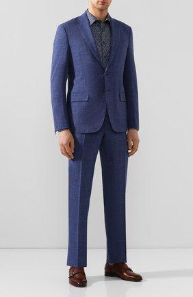 Мужской костюм из смеси шерсти и шелка LUCIANO BARBERA синего цвета, арт. 5D2014/18127   Фото 1