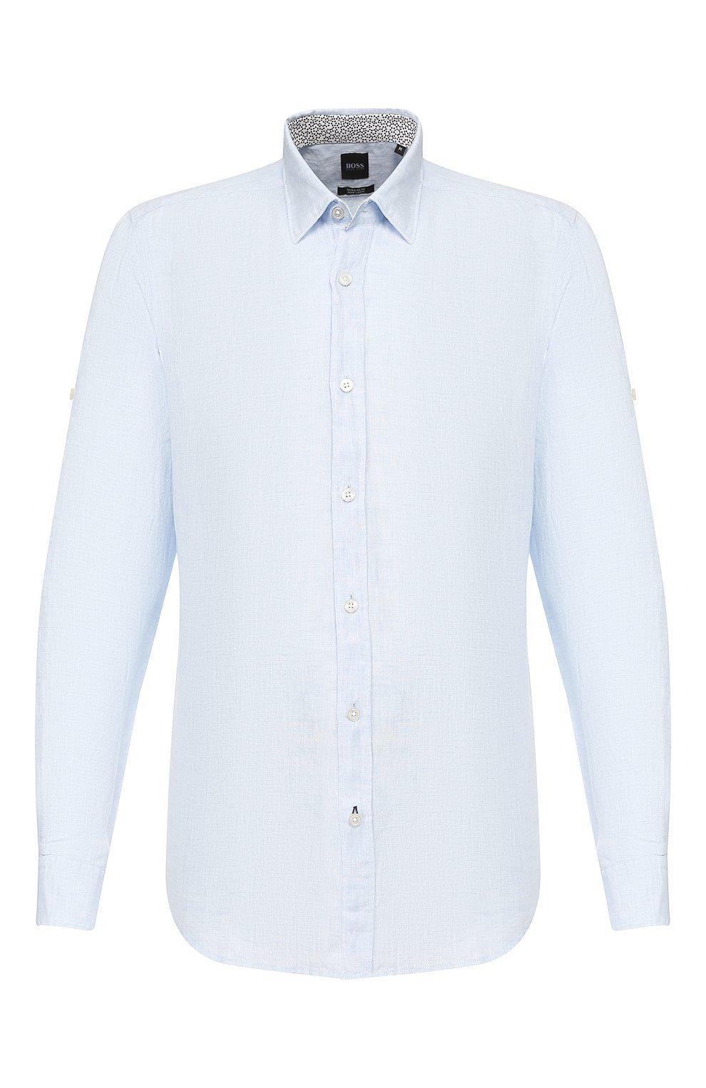 Мужская льняная рубашка BOSS голубого цвета, арт. 50427135 | Фото 1