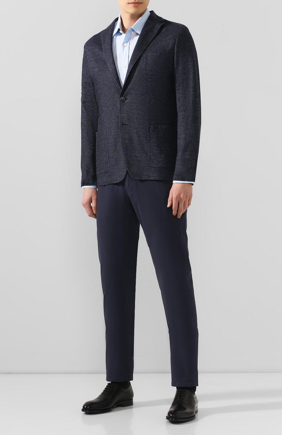 Мужская льняная рубашка BOSS голубого цвета, арт. 50427135 | Фото 2