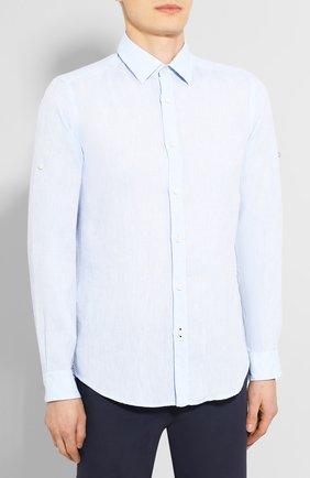 Мужская льняная рубашка BOSS голубого цвета, арт. 50427135 | Фото 3