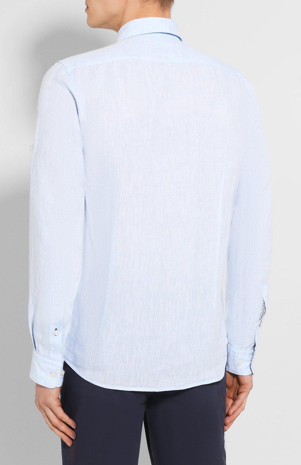 Мужская льняная рубашка BOSS голубого цвета, арт. 50427135 | Фото 4