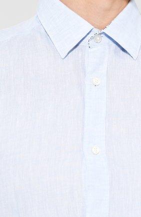 Мужская льняная рубашка BOSS голубого цвета, арт. 50427135 | Фото 5
