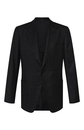 Мужской пиджак из смеси шерсти и шелка TOM FORD темно-синего цвета, арт. 718R58/15SR40 | Фото 1