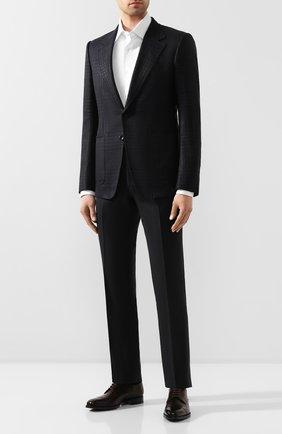 Мужской пиджак из смеси шерсти и шелка TOM FORD темно-синего цвета, арт. 718R58/15SR40 | Фото 2