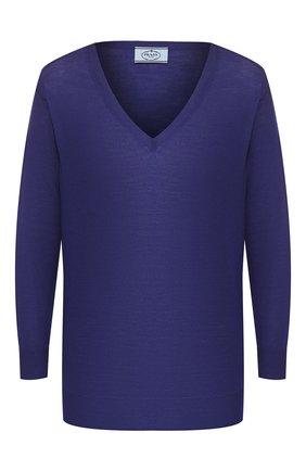 Женская шерстяной пуловер PRADA синего цвета, арт. P24Q77-J2N-F0589 | Фото 1