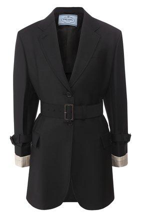 Женский шерстяной жакет PRADA черного цвета, арт. P500IH-G54-F0008   Фото 1
