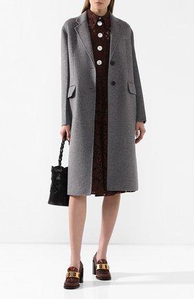 Женское шерстяное пальто PRADA серого цвета, арт. P668M-1CRU-F0031 | Фото 2