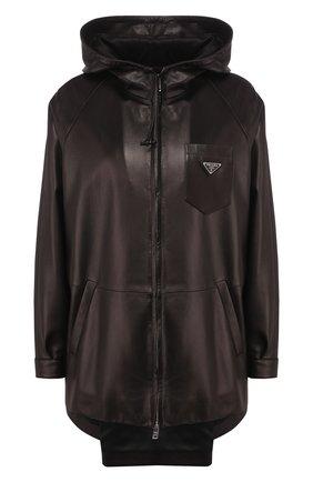 Женская кожаная куртка PRADA черного цвета, арт. 58A015-1WDV-F0002   Фото 1