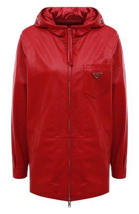 Женская кожаная куртка PRADA красного цвета, арт. 58A015-1WDV-F0011 | Фото 1