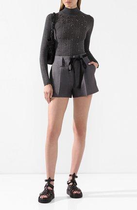 Женская пуловер из смеси кашемира и шелка PRADA серого цвета, арт. P26342-1U0I-F0480 | Фото 2