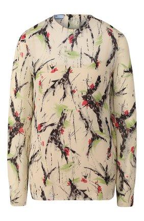 Женская блузка из вискозы PRADA бежевого цвета, арт. P933H-1WWP-F0324   Фото 1