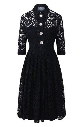 Женское платье из смеси хлопка и вискозы PRADA темно-синего цвета, арт. P3A94-1SA4-F0008   Фото 1