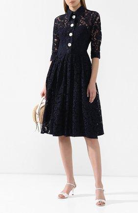 Женское платье из смеси хлопка и вискозы PRADA темно-синего цвета, арт. P3A94-1SA4-F0008   Фото 2
