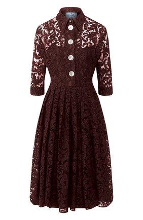Женское платье из смеси хлопка и вискозы PRADA коричневого цвета, арт. P3A94-1SA4-F0324   Фото 1