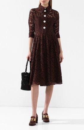Женское платье из смеси хлопка и вискозы PRADA коричневого цвета, арт. P3A94-1SA4-F0324   Фото 2