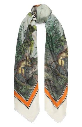 Мужские кашемировый шарф BURBERRY зеленого цвета, арт. 8026992 | Фото 1