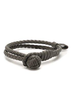 Женский кожаный браслет BOTTEGA VENETA серого цвета, арт. 612982/V00BG | Фото 1