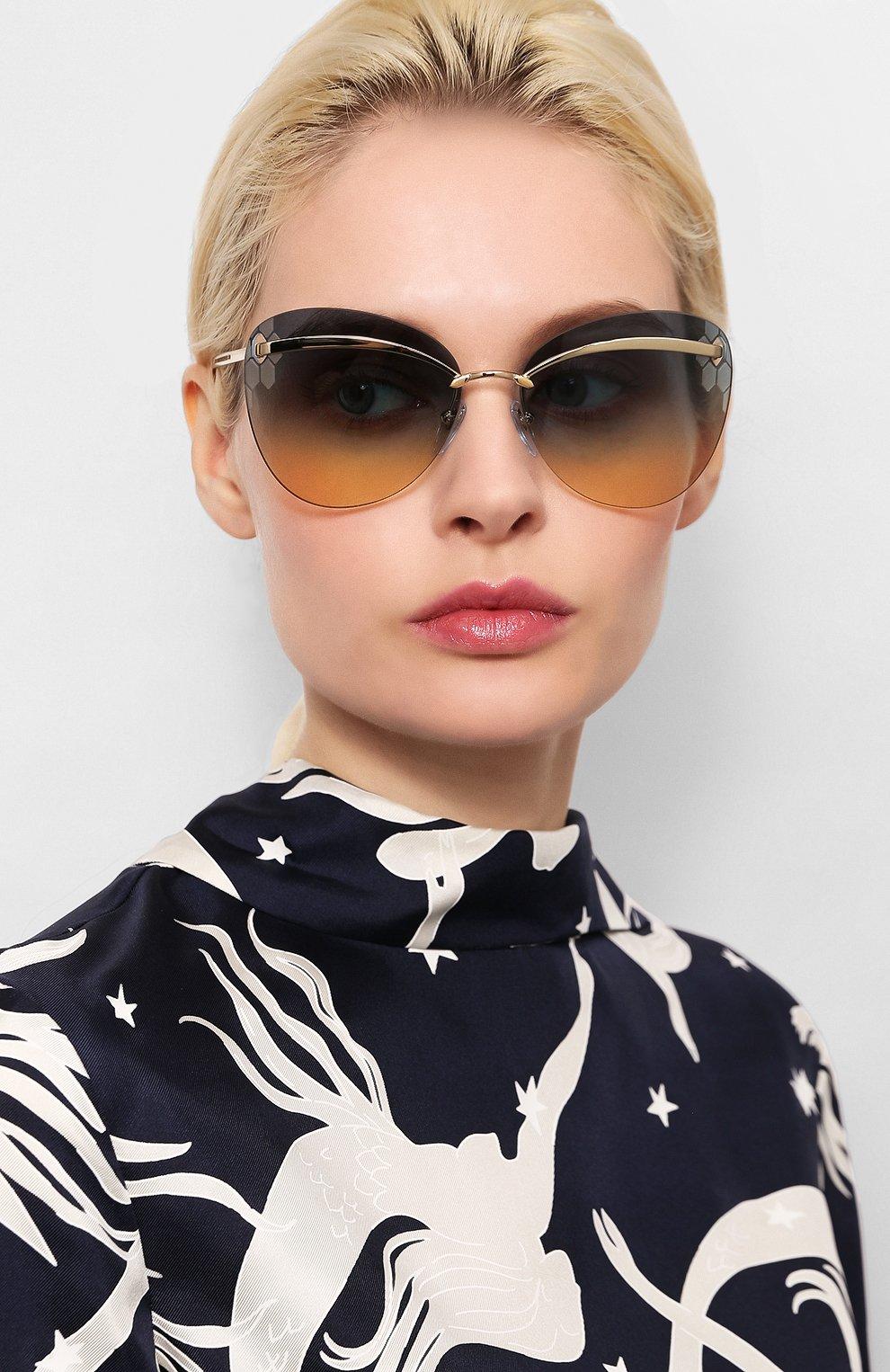 Женские солнцезащитные очки BVLGARI золотого цвета, арт. 6130-278/4M | Фото 2