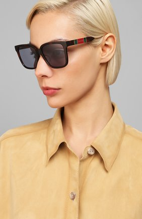 Мужские солнцезащитные очки GUCCI коричневого цвета, арт. GG0599SA 002   Фото 2