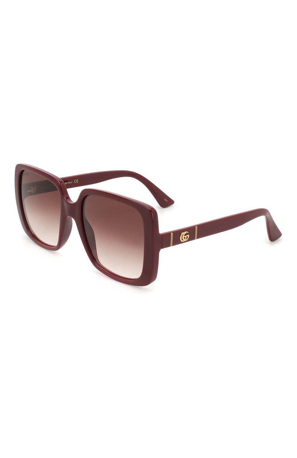 Женские солнцезащитные очки GUCCI бордового цвета, арт. GG0632S 003   Фото 1