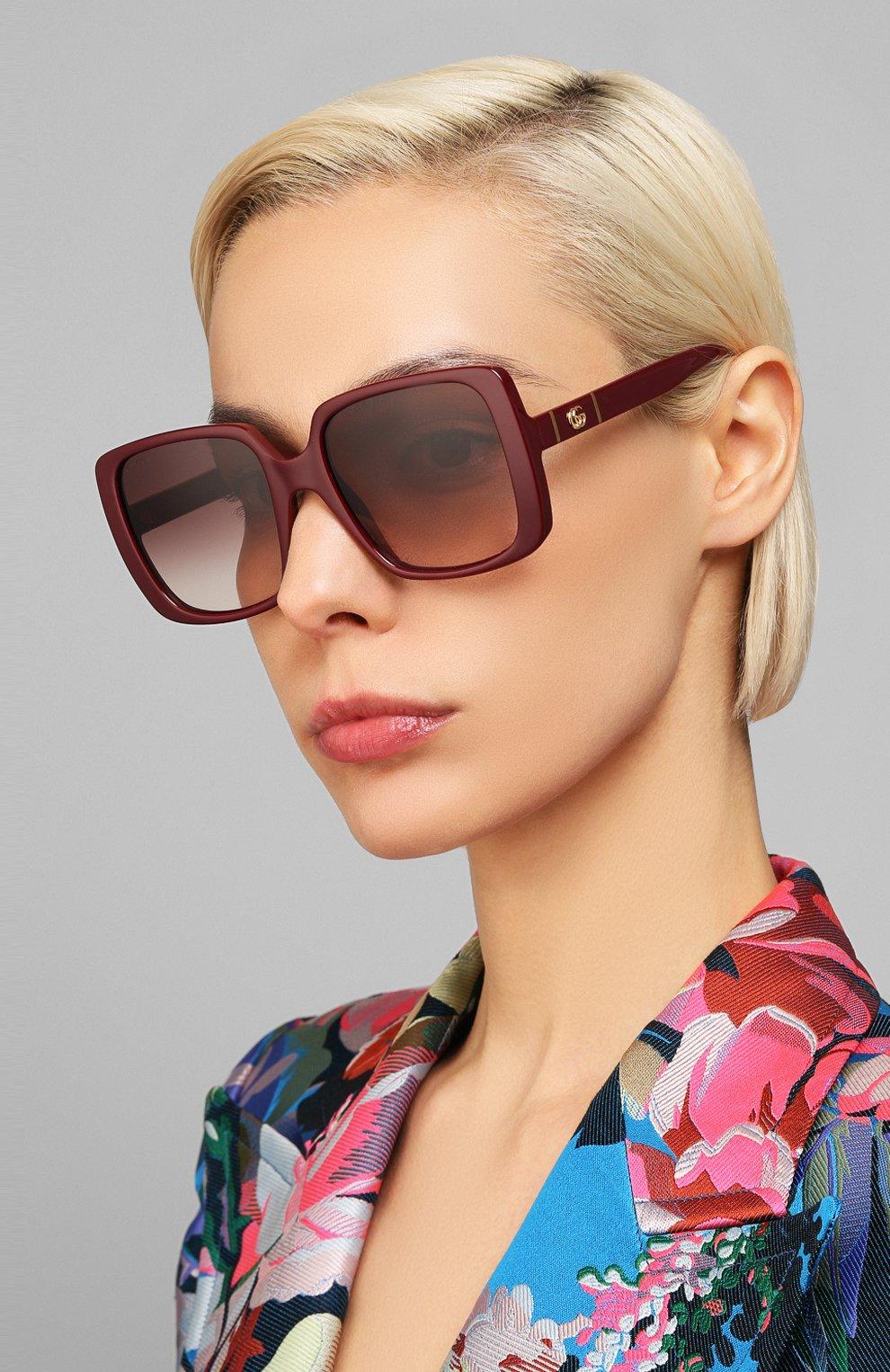 Женские солнцезащитные очки GUCCI бордового цвета, арт. GG0632S 003   Фото 2