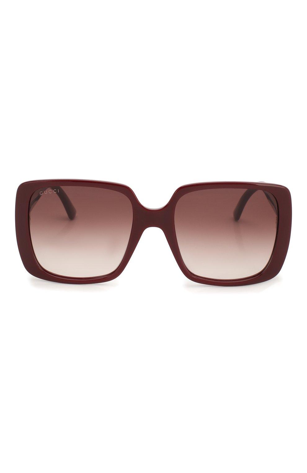 Женские солнцезащитные очки GUCCI бордового цвета, арт. GG0632S 003   Фото 3