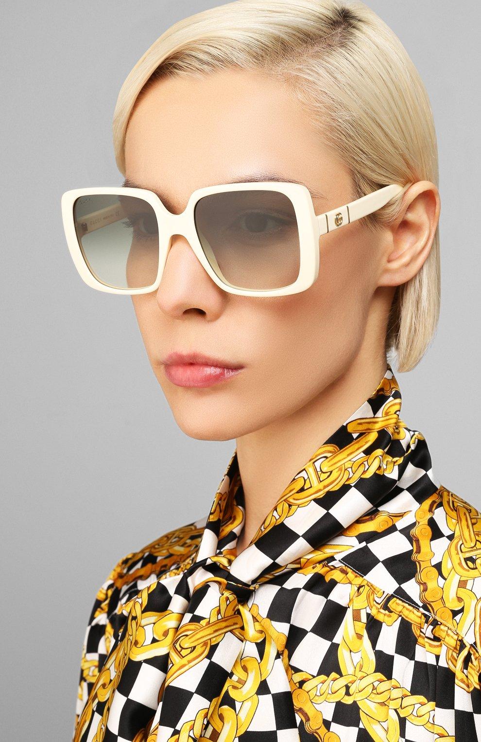 Женские солнцезащитные очки GUCCI белого цвета, арт. GG0632S 004 | Фото 2