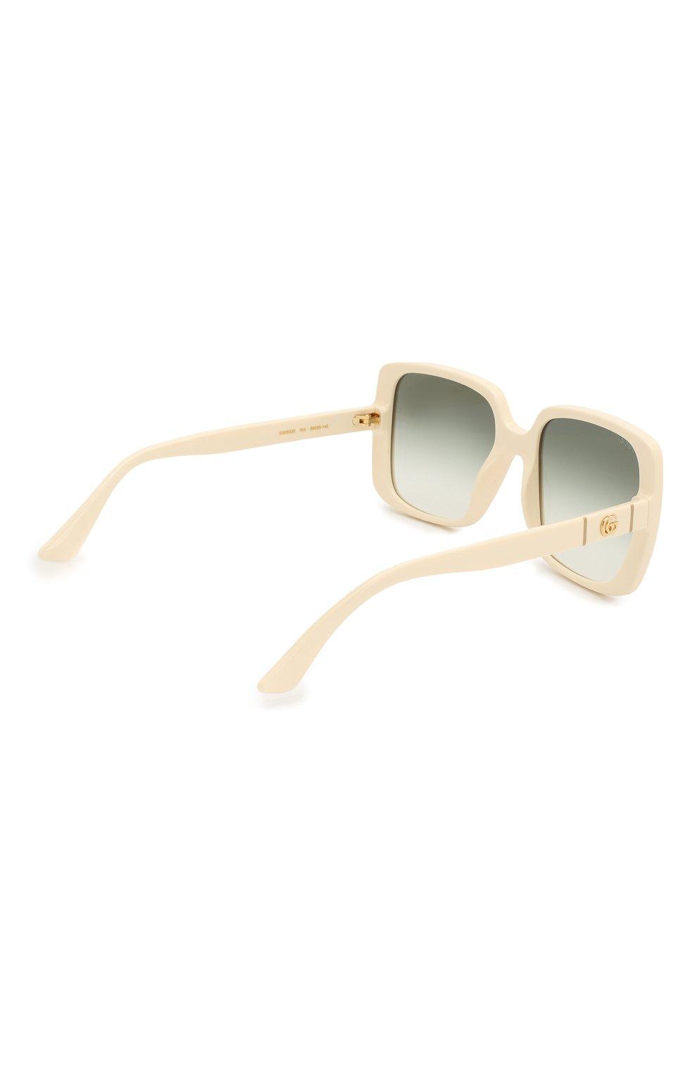 Женские солнцезащитные очки GUCCI белого цвета, арт. GG0632S 004 | Фото 4