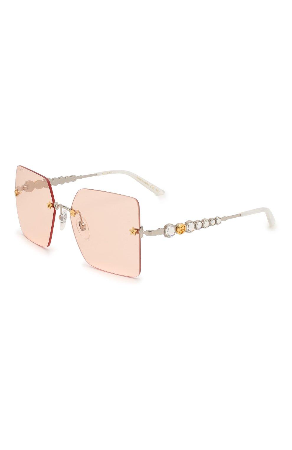 Женские солнцезащитные очки GUCCI розового цвета, арт. GG0644S 003 | Фото 1