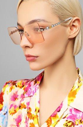 Женские солнцезащитные очки GUCCI розового цвета, арт. GG0644S 003 | Фото 2