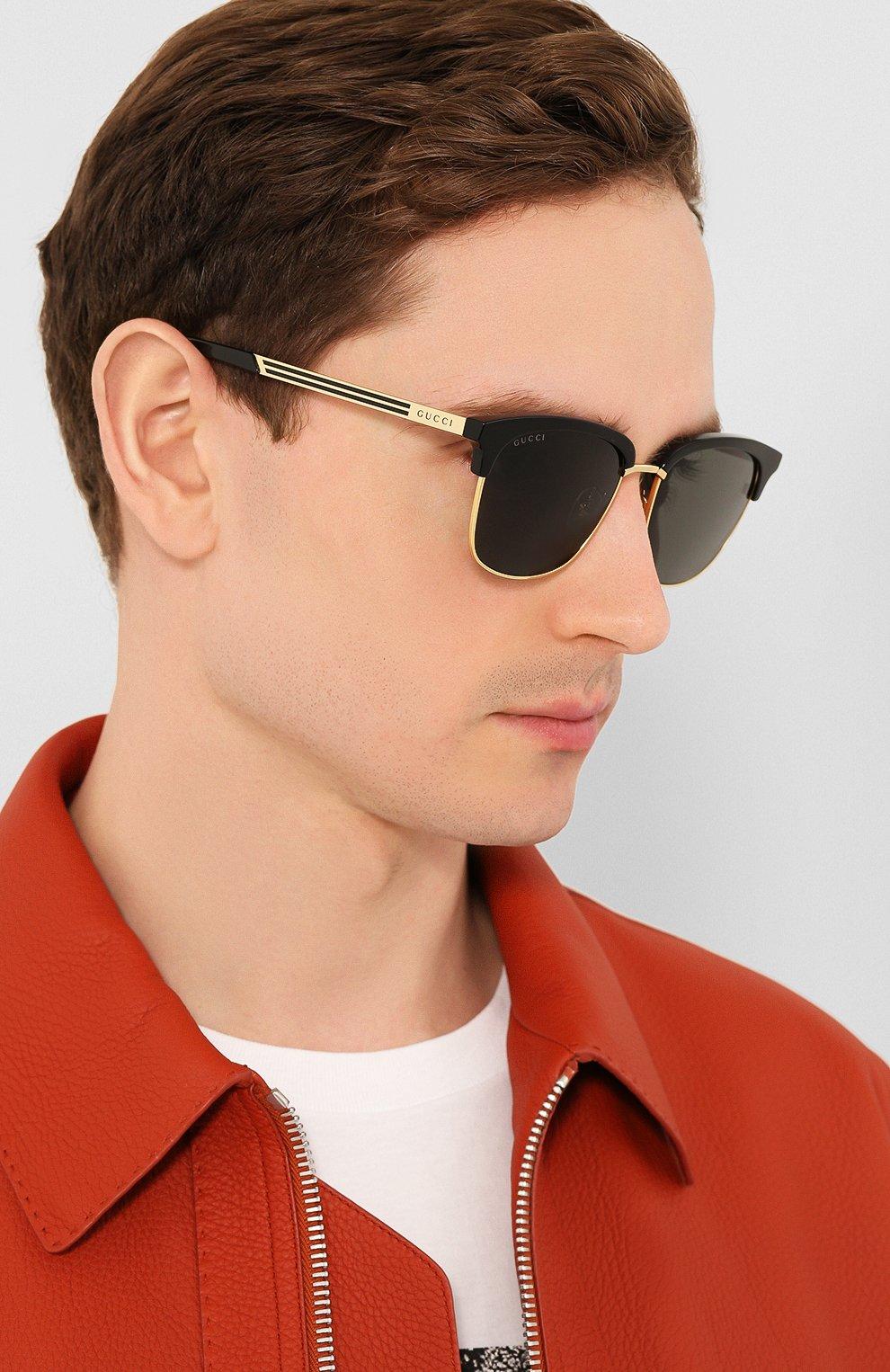 Женские солнцезащитные очки GUCCI черного цвета, арт. GG0697S 001 | Фото 3