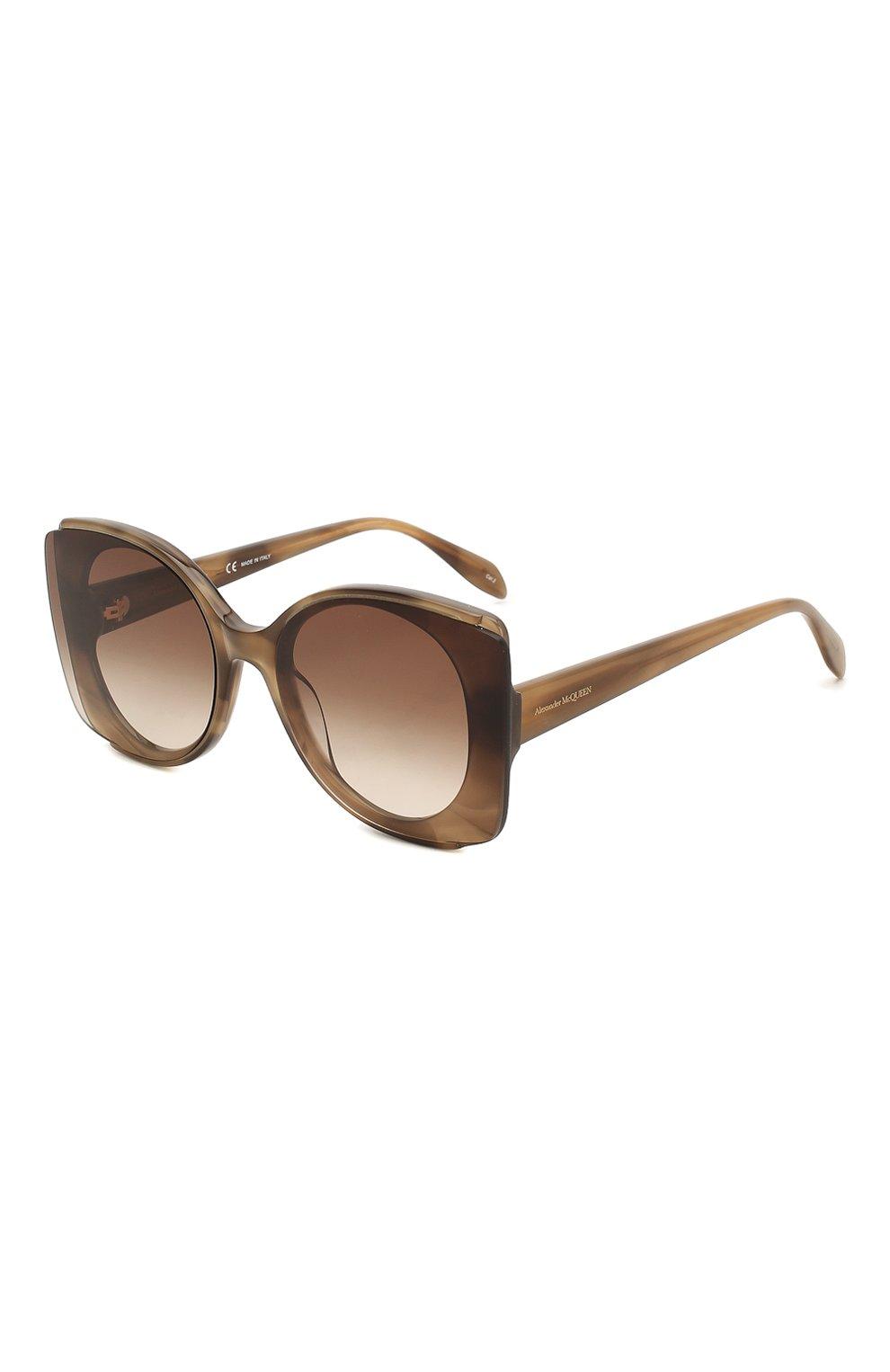 Женские солнцезащитные очки ALEXANDER MCQUEEN коричневого цвета, арт. AM0250S 004 | Фото 1