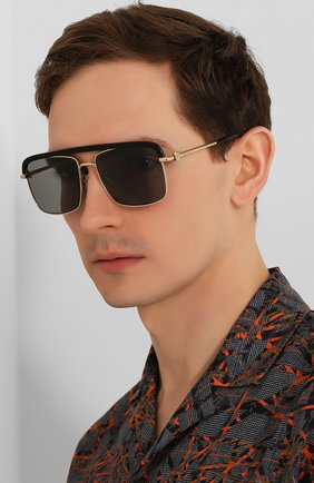 Женские солнцезащитные очки ALEXANDER MCQUEEN черного цвета, арт. AM0258S 001   Фото 3