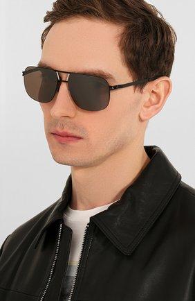Мужские солнцезащитные очки MYKITA черного цвета, арт. AL/BLACK/SILVER | Фото 2 (Тип очков: С/з; Очки форма: Прямоугольные; Оптика Гендер: оптика-мужское)