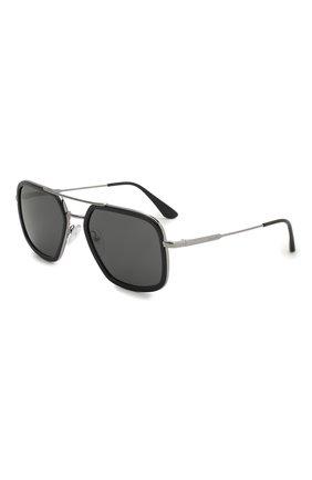 Мужские солнцезащитные очки PRADA черного цвета, арт. 57XS-M4Y5S0 | Фото 1