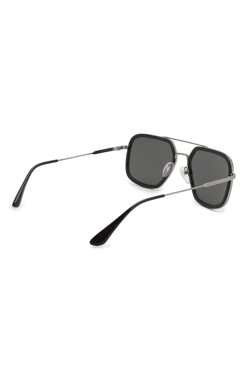 Мужские солнцезащитные очки PRADA черного цвета, арт. 57XS-M4Y5S0 | Фото 4