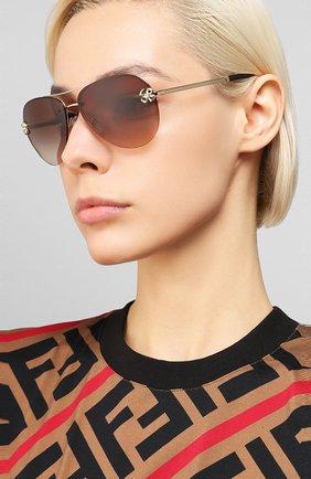 Мужские солнцезащитные очки BVLGARI коричневого цвета, арт. 6137B-278/13 | Фото 2