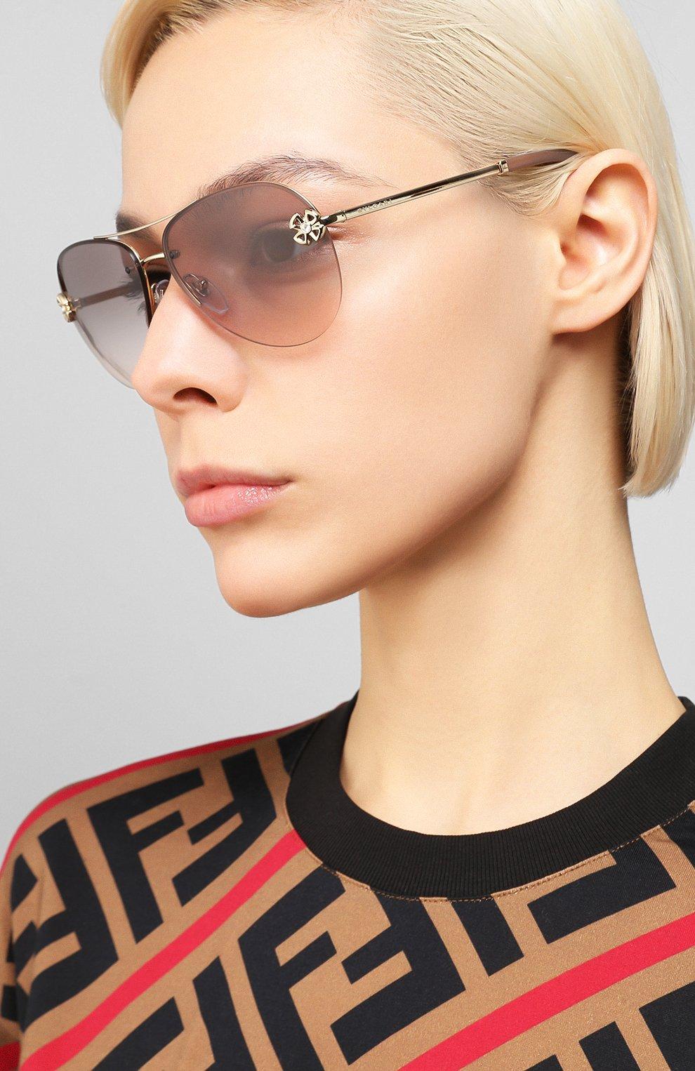 Женские солнцезащитные очки BVLGARI светло-коричневого цвета, арт. 6137B-278/3B | Фото 2