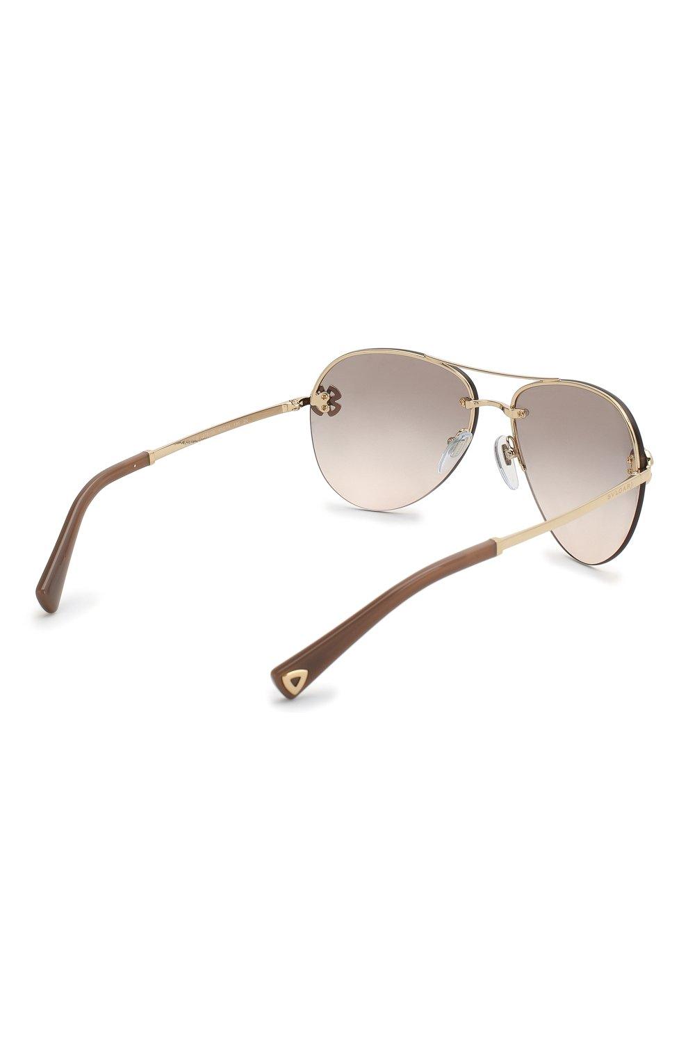 Женские солнцезащитные очки BVLGARI светло-коричневого цвета, арт. 6137B-278/3B | Фото 4