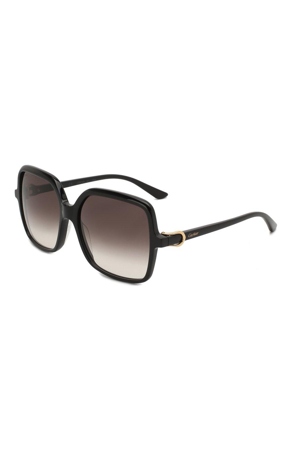 Женские солнцезащитные очки CARTIER черного цвета, арт. CT0219S 001 | Фото 1