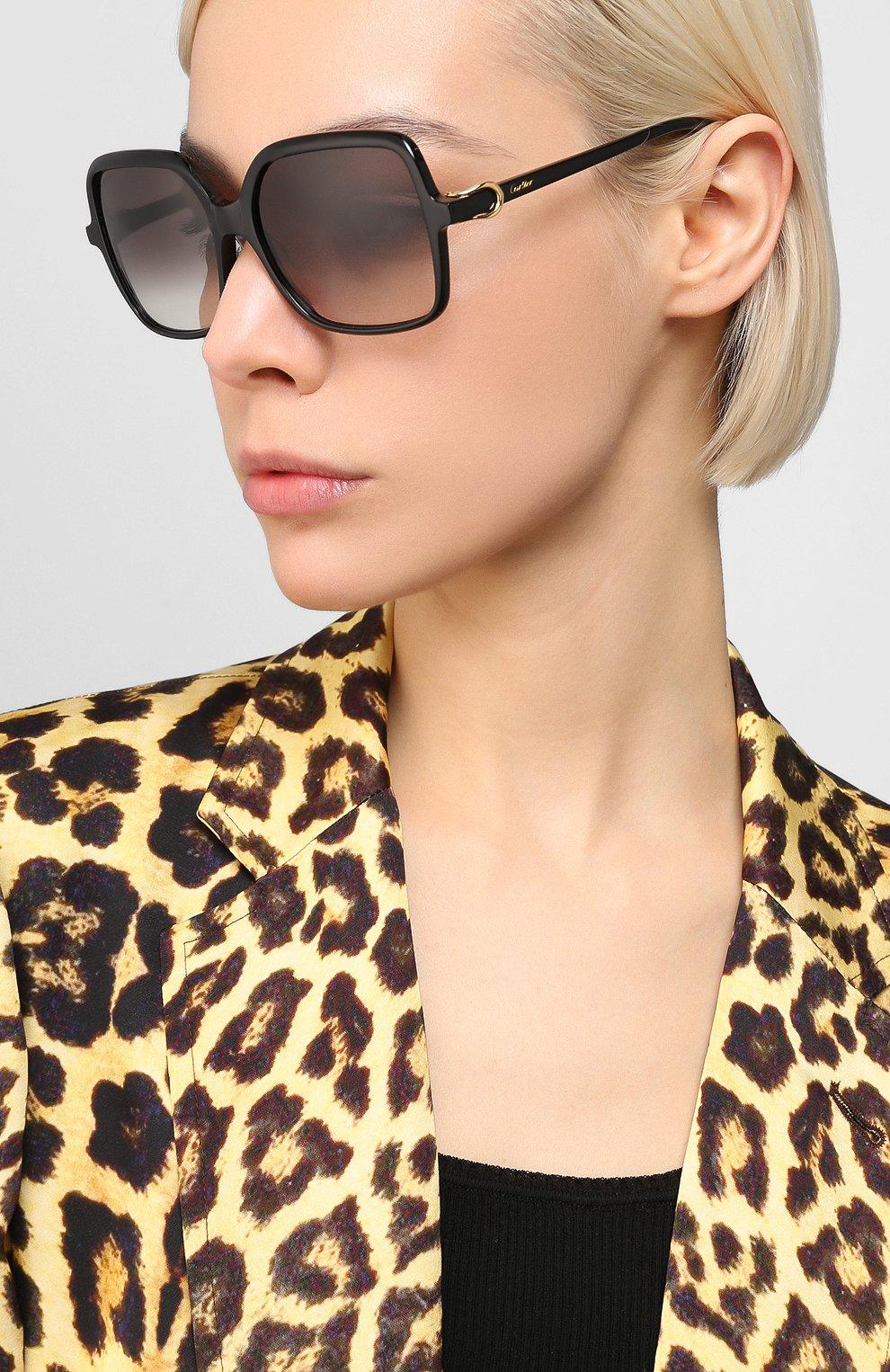 Женские солнцезащитные очки CARTIER черного цвета, арт. CT0219S 001 | Фото 2