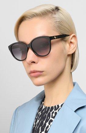 Женские солнцезащитные очки GUCCI черного цвета, арт. GG0631S 001 | Фото 2