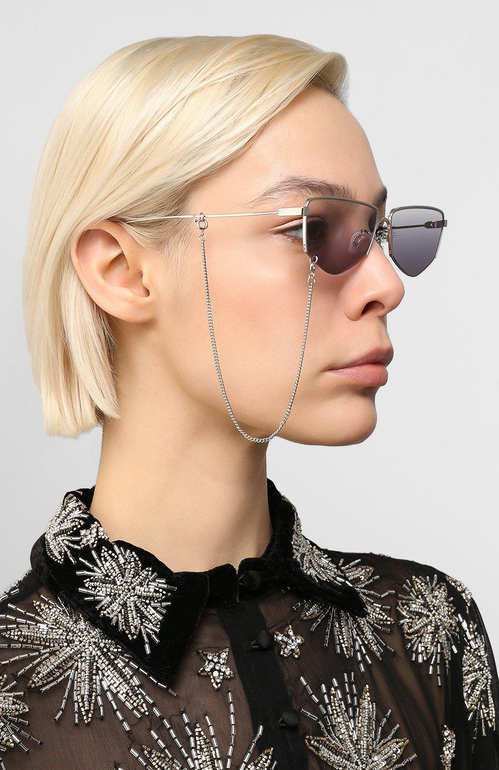 Женские солнцезащитные очки MCQ SWALLOW серого цвета, арт. MQ0271SA 001   Фото 2 (Тип очков: С/з; Оптика Гендер: оптика-женское; Очки форма: Прямоугольные)