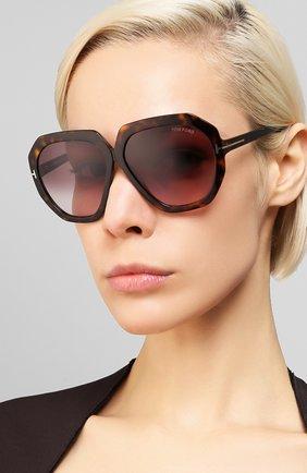 Женские солнцезащитные очки TOM FORD коричневого цвета, арт. TF791 52T | Фото 2