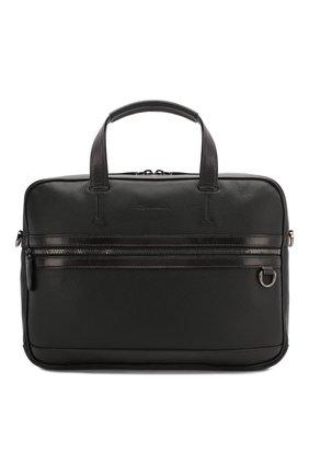 Мужская кожаная сумка для ноутбука SANTONI черного цвета, арт. UIBBA1939BS-G2MSN01 | Фото 1