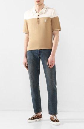 Мужское поло из смеси шелка и кашемира BURBERRY бежевого цвета, арт. 8025959 | Фото 2