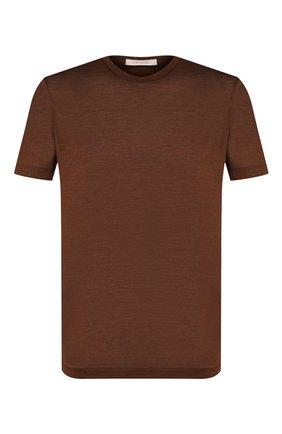 Мужская шелковая футболка CORTIGIANI коричневого цвета, арт. 816650/0000 | Фото 1