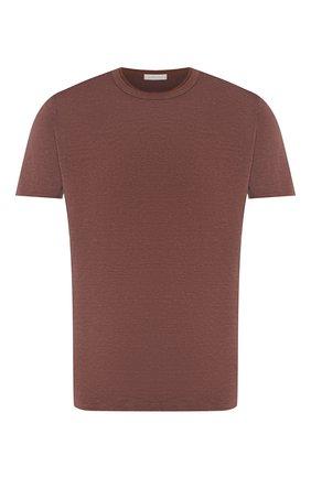 Мужская льняная футболка CORTIGIANI коричневого цвета, арт. 816660/0000 | Фото 1